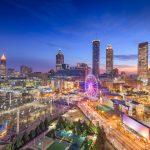 Atlanta, Georgia, USA downtown skyline and park at twilight